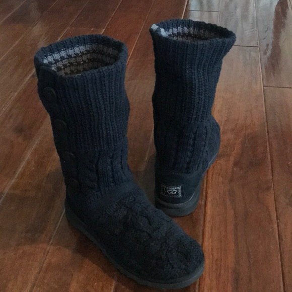 Ugg Shoes Black Knit Boots Poshmark